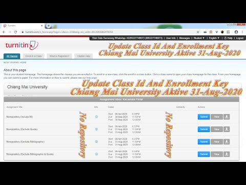 Update Class Id And Enrollment Key Turnitin 2020 Student No Repository Chiang Mai University Youtube