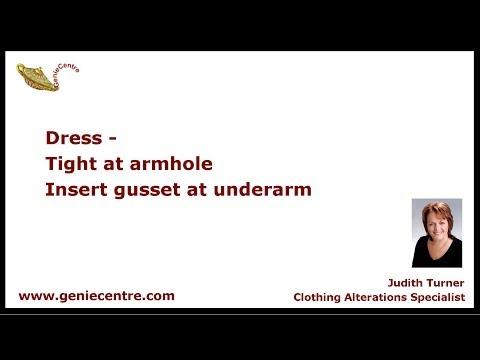 Gusset insert underarm of dress