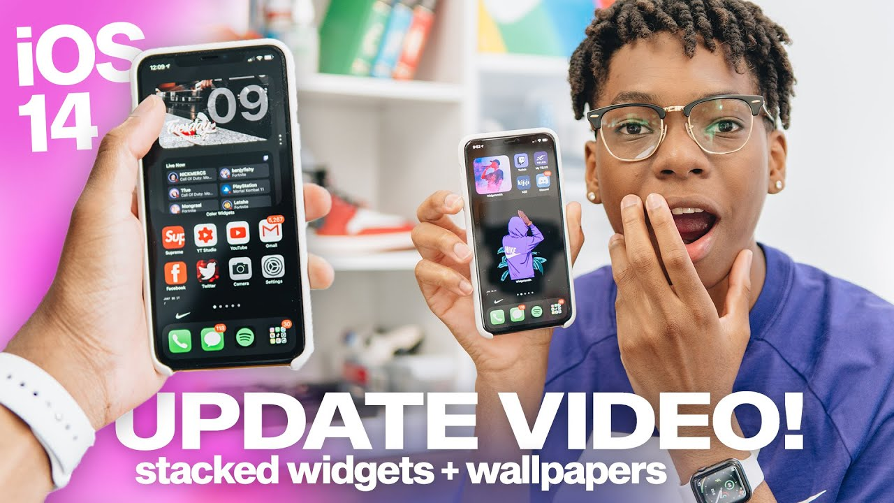 Ios 14 Home Screen Aesthetic Customization With Stacked Widgets My Wallpapers Update Youtube