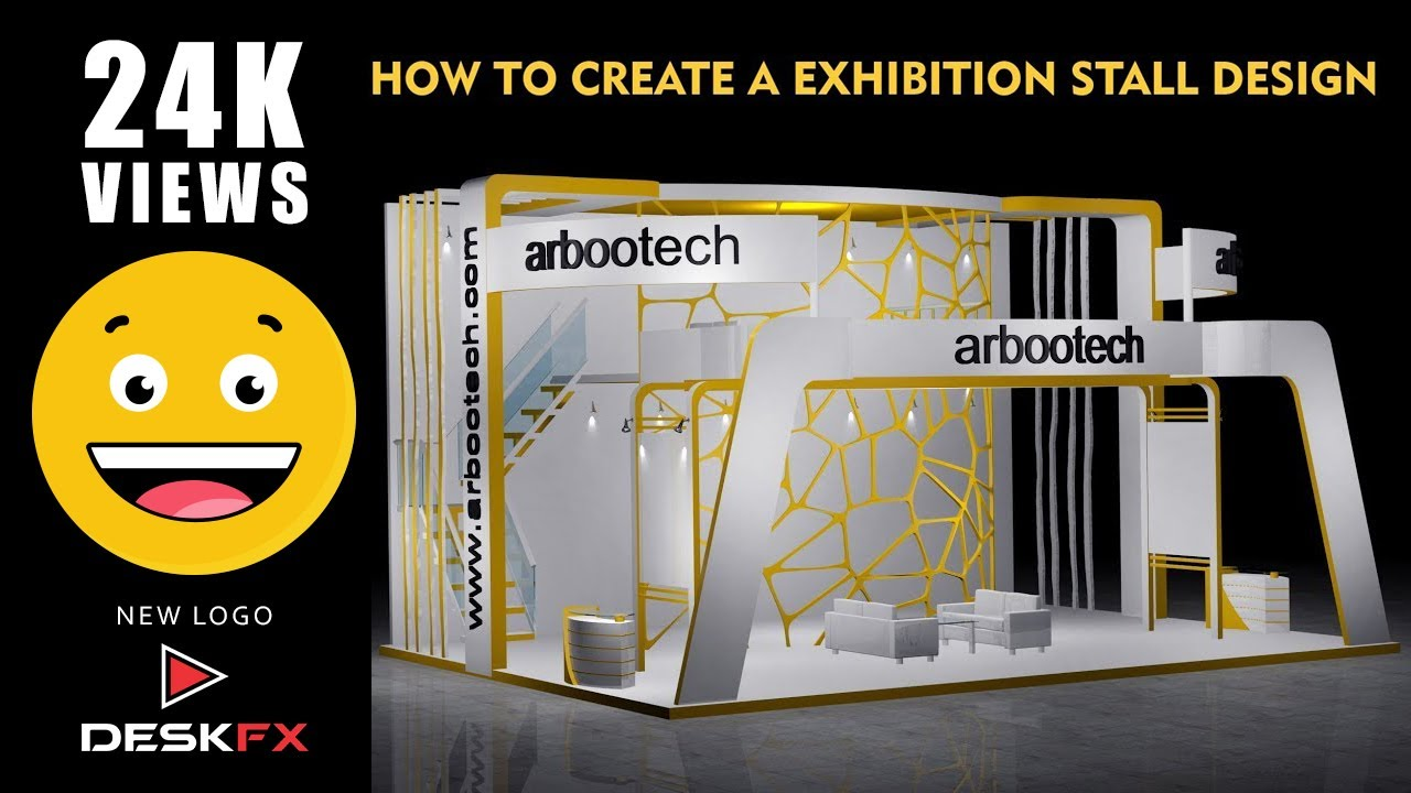 Stall Arrangement For Exhibition : Ds max exhibition stall design part youtube