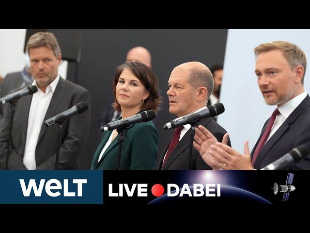 AMPEL-PARTEIEN: SPD, Die Grünen und FDP beginnen mit ihren Koalitionsverhandlungen   WELT Live dabei