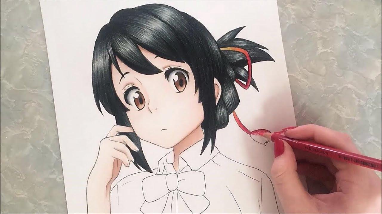 Mitsuha Miyamizu Speed Drawing (Your Name) - YouTube