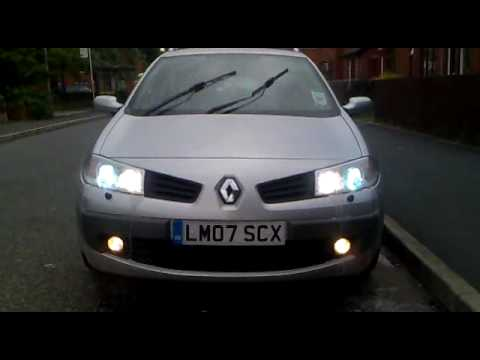 hid xenon 8000k renault megane youtube. Black Bedroom Furniture Sets. Home Design Ideas