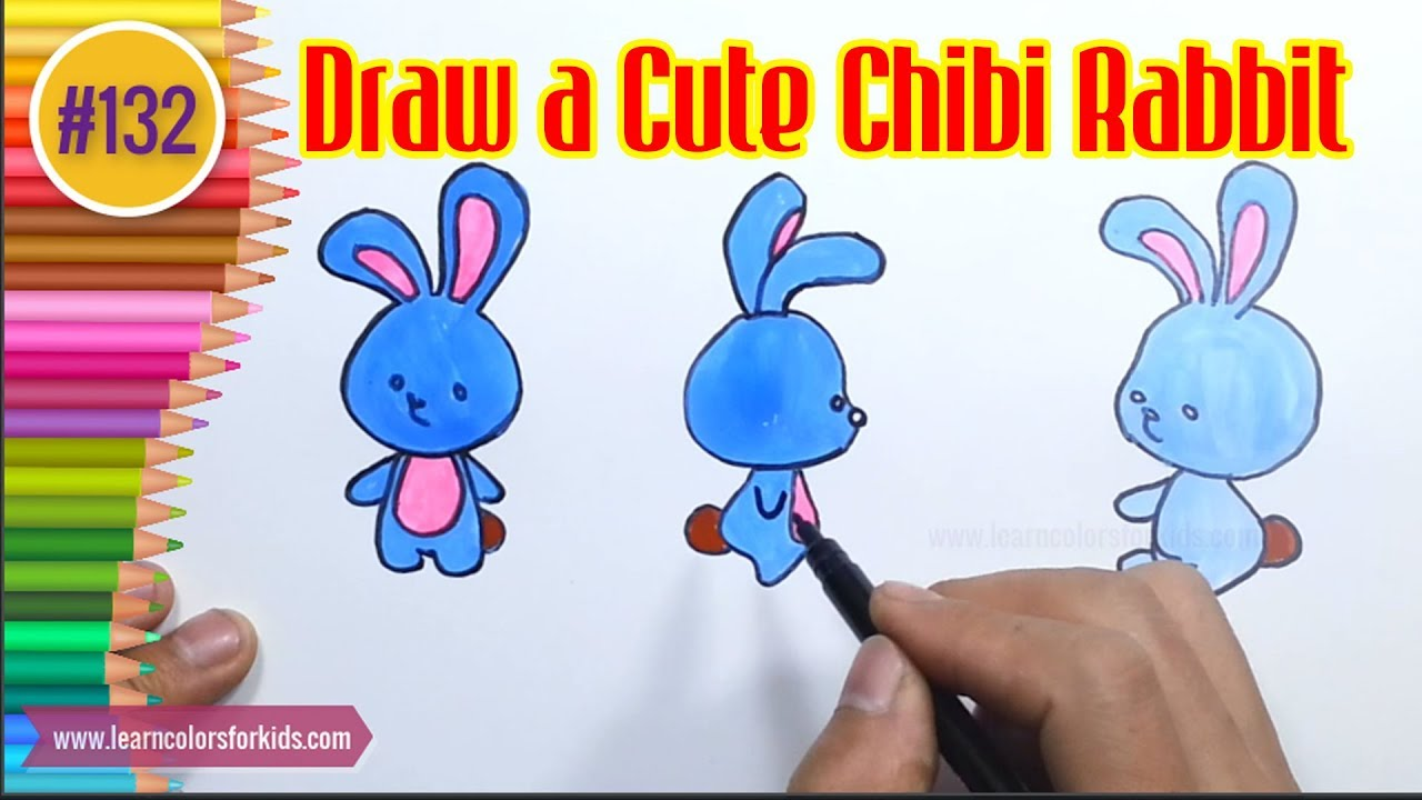 how to draw a cute chibi rabbit drawing tutorials for kids 132