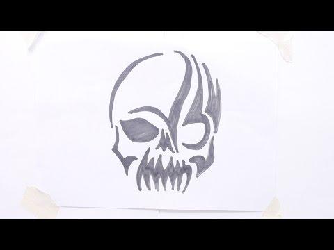 How To Draw Skull Tribal Tattoo