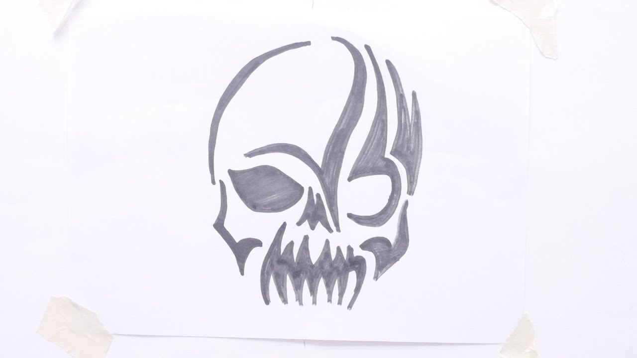 How to draw skull tribal tattoo - YouTube