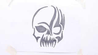 How to draw skull tribal tattoo