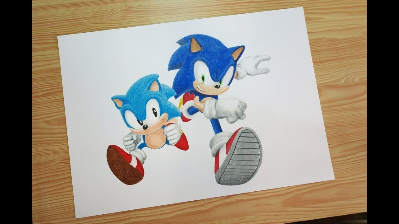 Speed Drawing Modern And Classic Sonic Sonic Generations Youtube