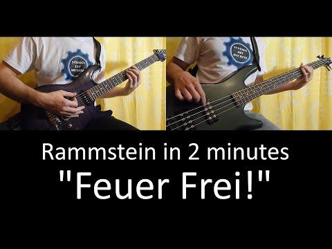 9) Rammstein - Feuer Frei! (guitar & bass lesson + tab   cover HD)
