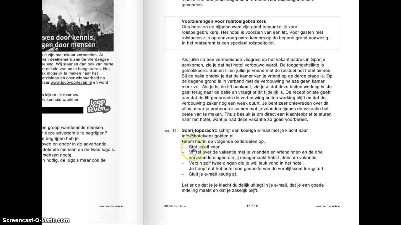 persoonlijke brief nederlands examen