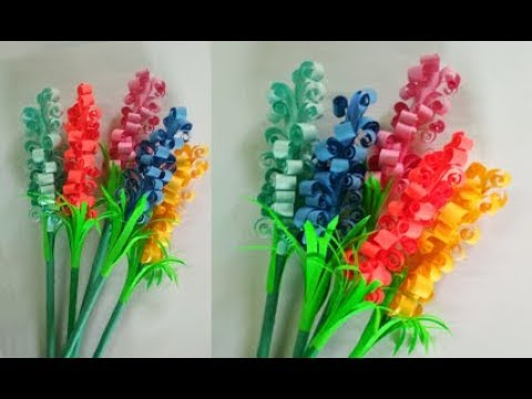 How to make paper stick flower | Paper Hyacinth flowers