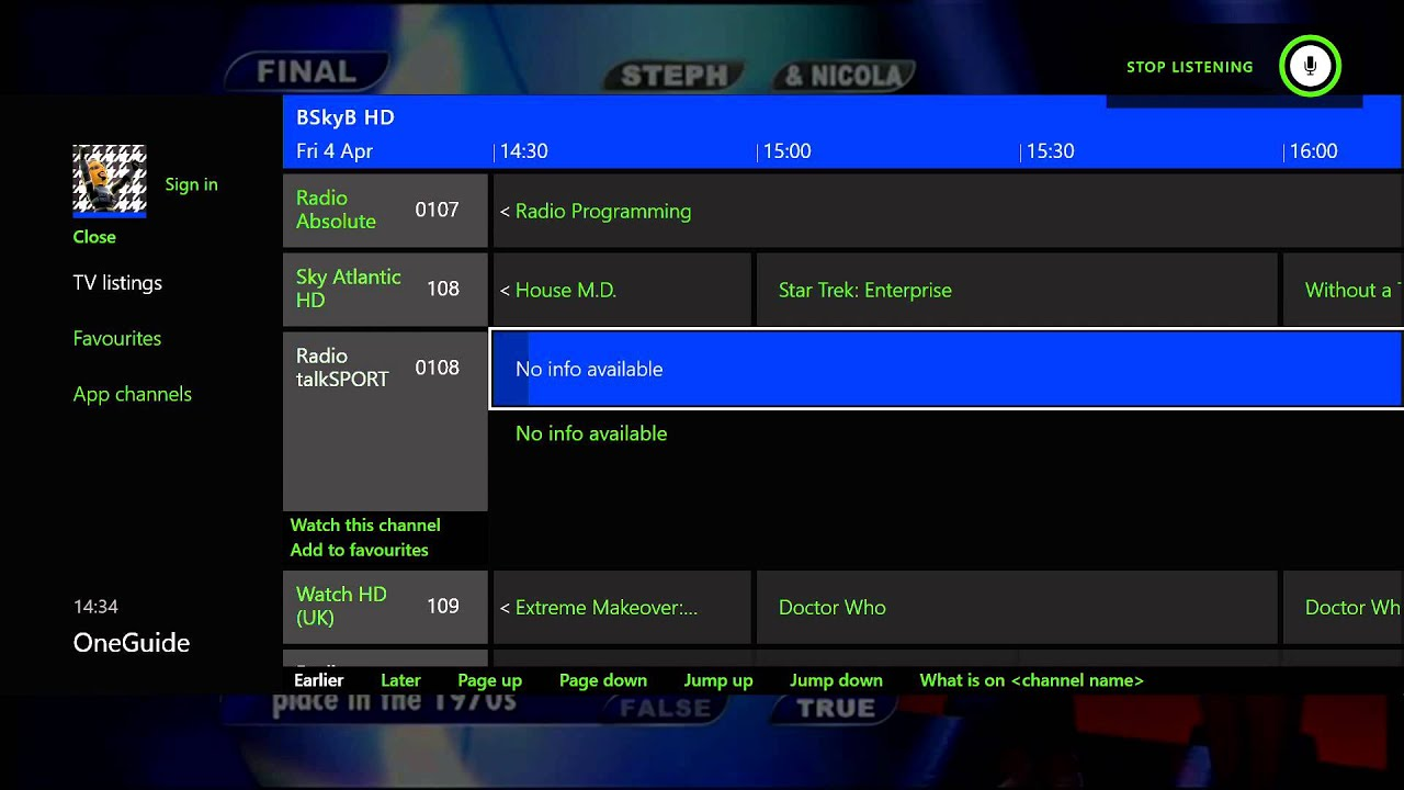 Xbox One Sky HD Box One Guide Feature Demo YouTube