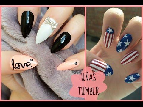 Decoracion De Uñas Bonitas Tipo Tumblr Tumblr Nails Art Youtube