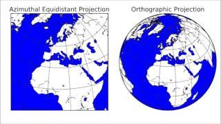 正距方位図法と正射図法の比較