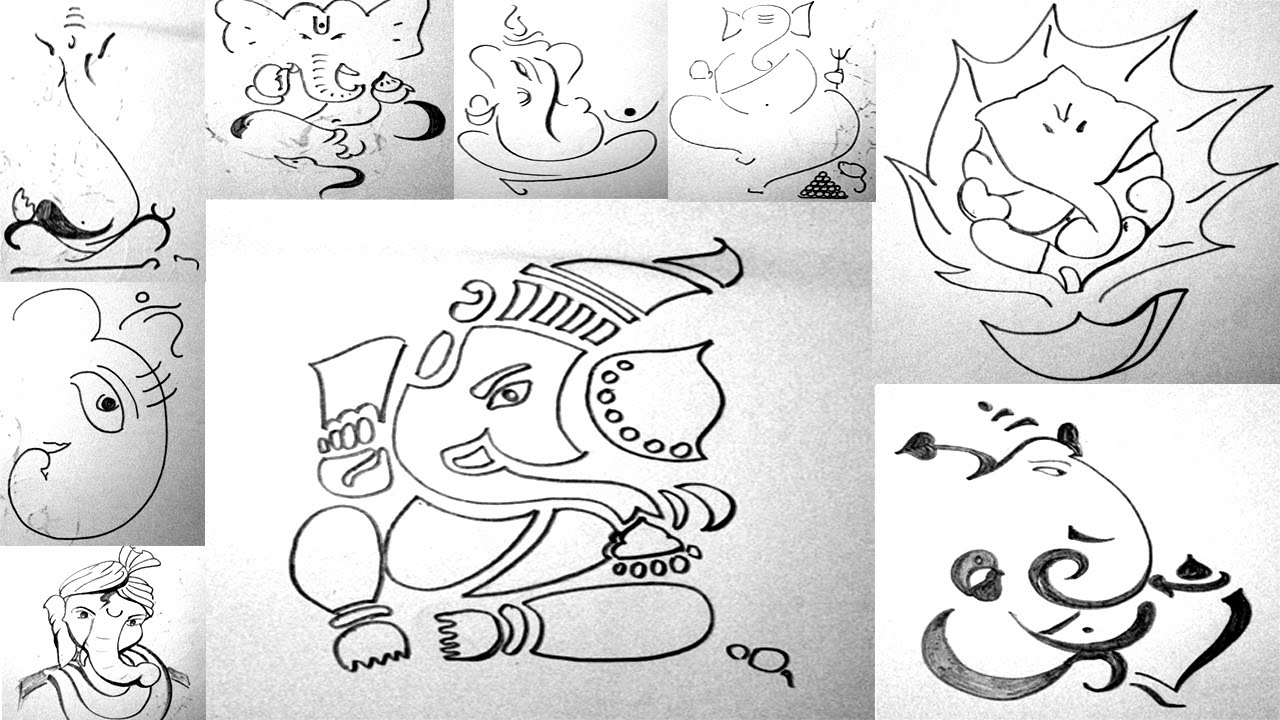 Ganapati bappa sketches 10 quick ganesha sketches youtube