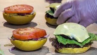 Vegan Burgers Yummy and Colourful Seen in Camden Lock Market. London Street Food
