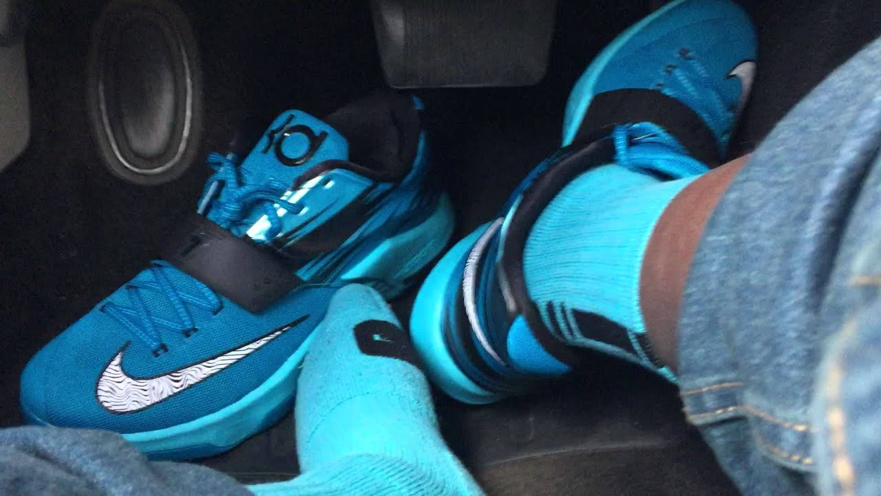 Driving in my Nike KD VII (Clearwater)