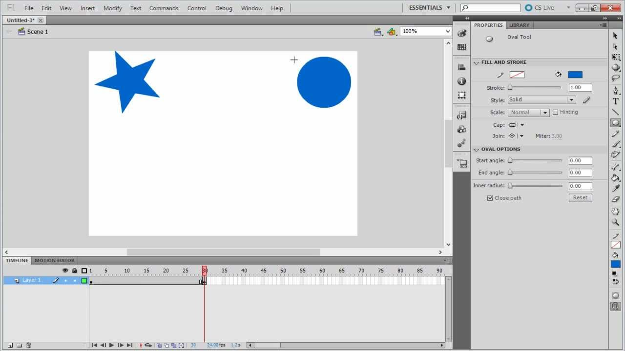 How to Create Shape Tween in Adobe Flash
