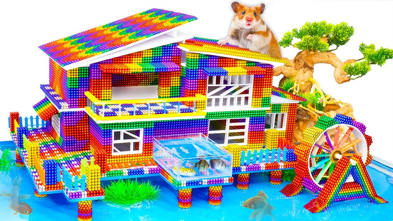 DIY -  How To Make Beach Resort Villa For Hamster From Magnetic Balls (Satisfying) - Magnet Balls
