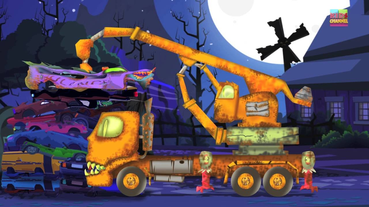 scary vehicles for children | Halloween ambulance | scary dump yard for kids