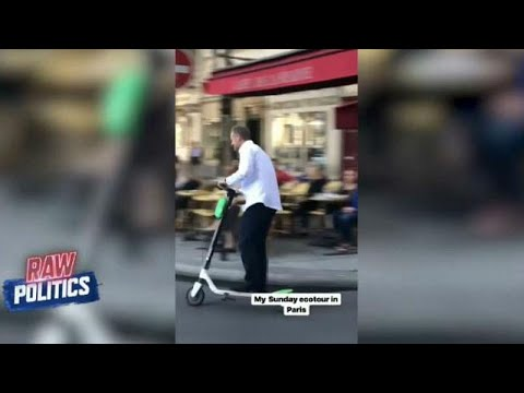 Donald Tusk tears through Paris in a scooter