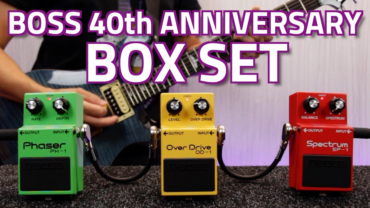 boss box 40 40th anniversary compact pedal set ph 1 phaser od 1 overdrive and sp 1 spectrum. Black Bedroom Furniture Sets. Home Design Ideas
