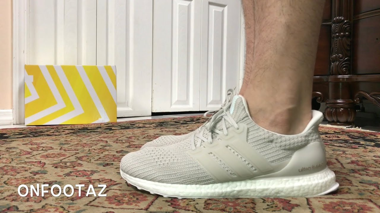 70e43d07a12 Adidas Ultra Boost 4.0 Chalk Pearl Grey On Foot - YouTube