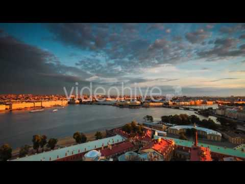 St. Petersburg. Vasilyevsky Island In Day And Night - Stock Footage | VideoHive 15217508