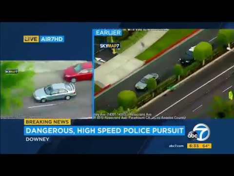 POLICE PURSUIT STOLEN 2000 HONDA CIVIC SHOTS FIRED DRIVER KILLED BELLFLOWER CALIFORNIA