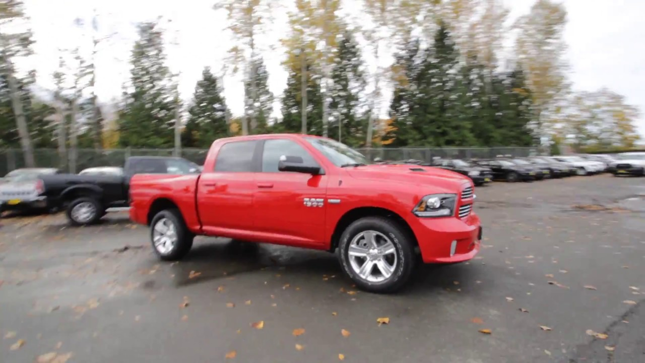 2017 dodge ram 1500 sport crew cab 4x4 flame red clear coat hs565806 redmond seattle. Black Bedroom Furniture Sets. Home Design Ideas