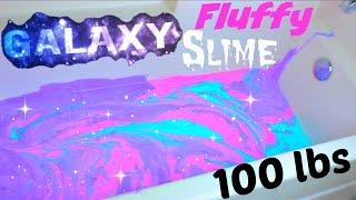 100 LBS Of FLUFFY GALAXY SLIME In A BATHTUB!