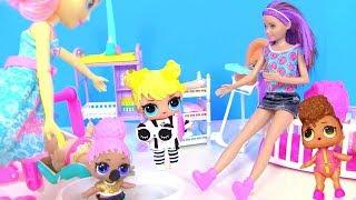 Куклы Лол и Барби Мультик! Барби старший воспитатель в Детском Саду Lol Surprise Confetti Pop
