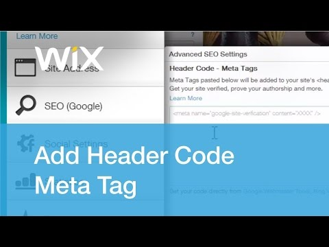 How to add Header Code Meta Tag in wix