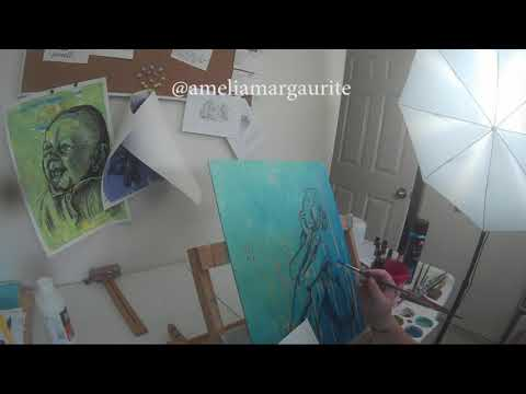 Time Lapse of ink and acrylic painting by artist Amelia Margaurite