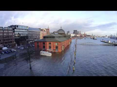 Timelapse: Sturmflut 12.01.2017 Hamburg Fischauktionshalle (Extended cut)