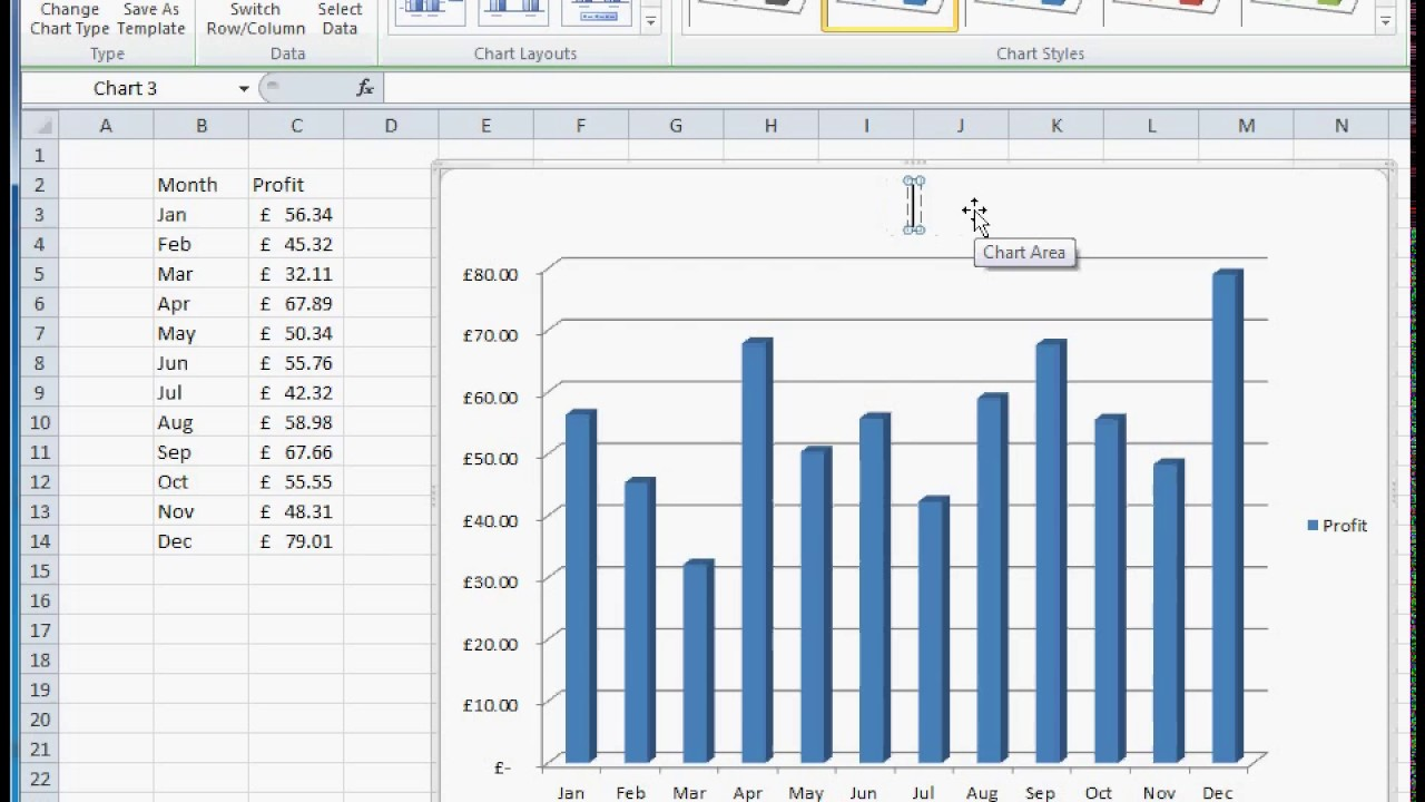 how to create a simple barcolumn monthly profit ebay graph in microsoft excel guide tutorial
