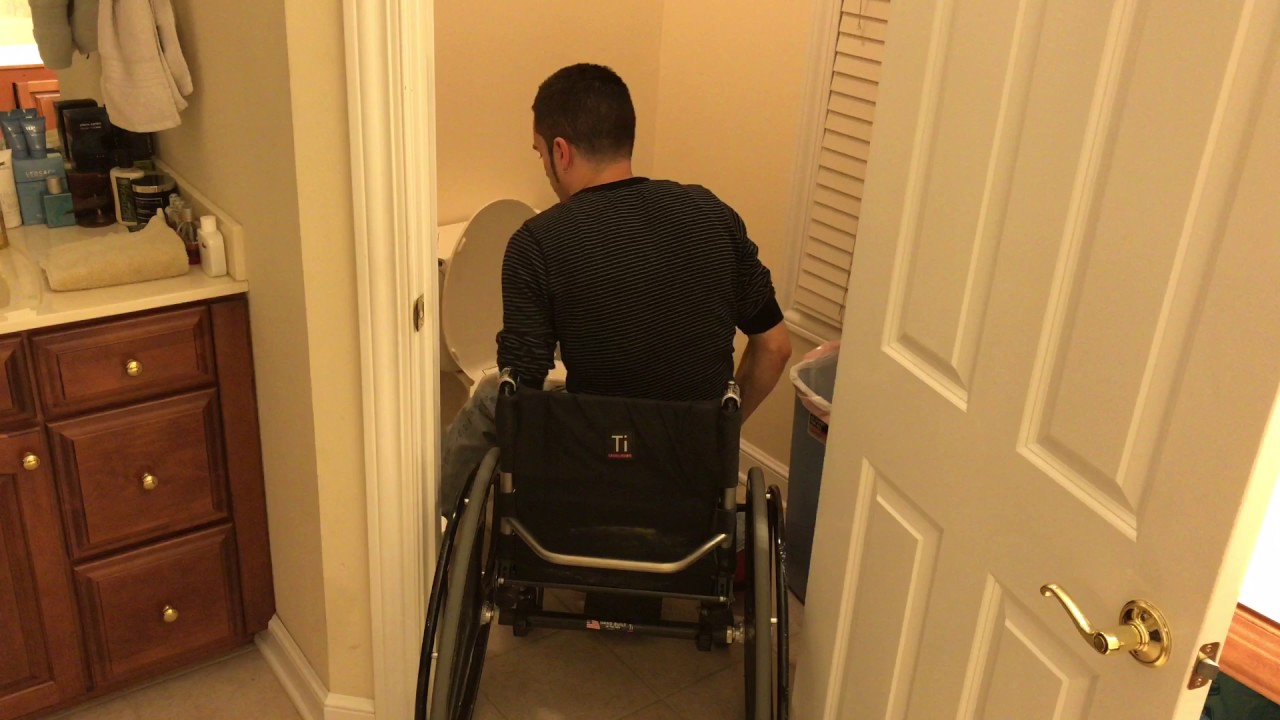 Wheelchair How To: Toilet Transfer (T5 complete paraplegic) - YouTube