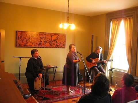 Patricia cano singing el payande with luis orbegoso on percussion and kevin barrett on guitar