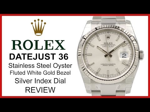 ▶ Rolex Datejust 36, silver Dial, fluted white Gold Bezel, steel Oyster Bracelet - REVIEW