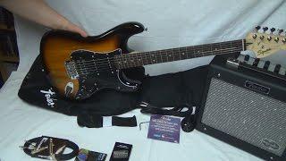 Unboxing ★ Fender Squier Affinitiy Strat HSS Set BS + weiteres Zubehör | Deutsch