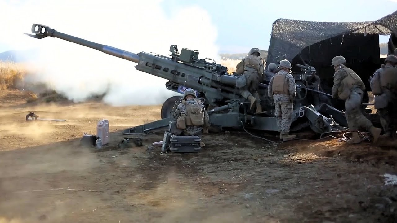 US Marines Conduct Live-Fire Drills with their M777 Howitzers
