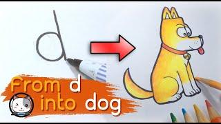 Dibujar un perro, A-Z Gire a la carta en dibujos animados (Dibujo, Imagen) Aprender dibujo, Letra d en perro