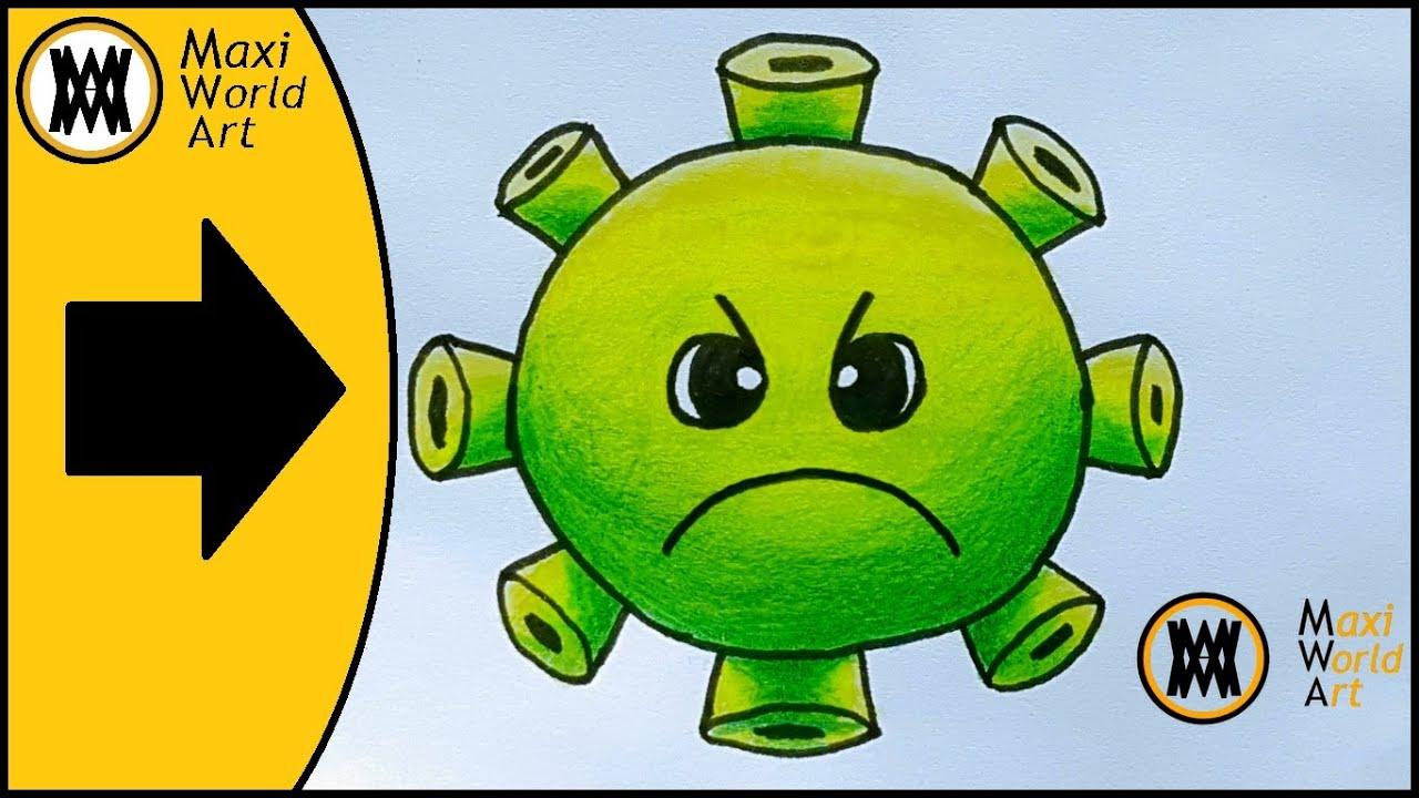 Como Dibujar Y Pintar Al Coronavirus Verde Kawaii Dibujo De