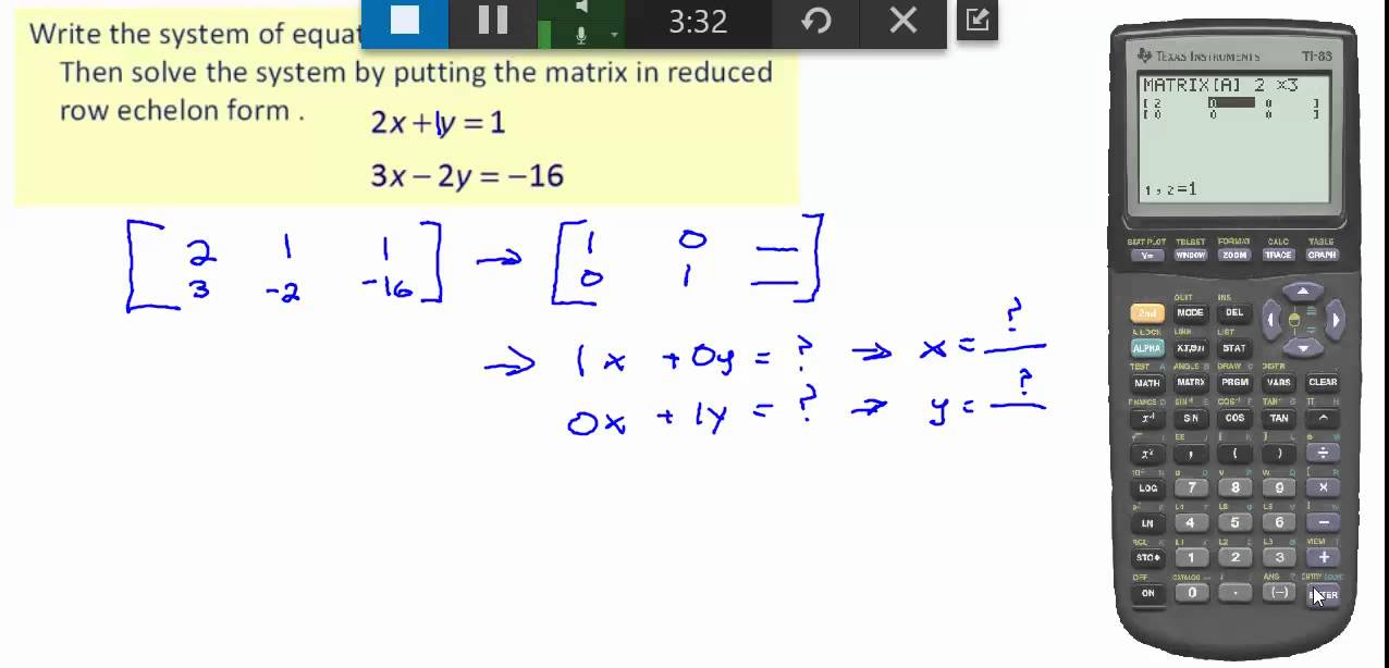 solving systems of equations using reduced row echelon form and ...