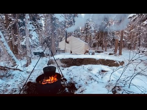 ESCAPE to the WILDERNESS || CAST IRON HOT TENT WINTER CAMPING