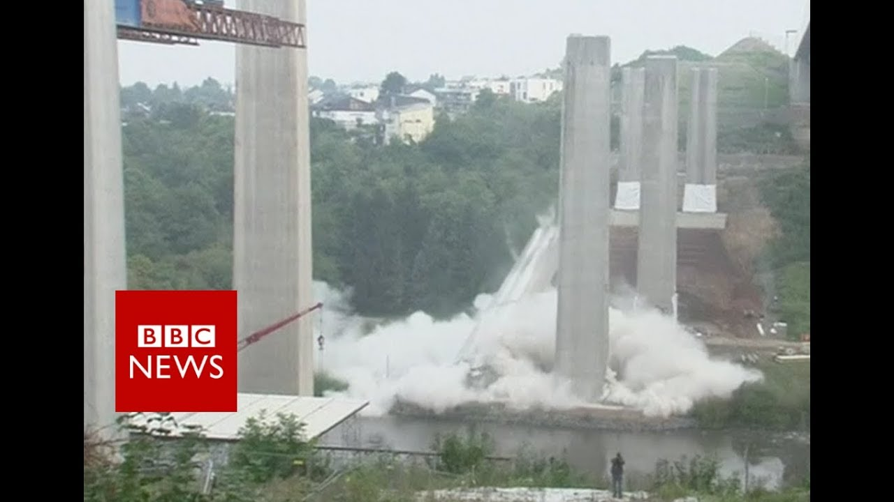 Massive bridge pillars felled in Limburg, Germany - BBC News