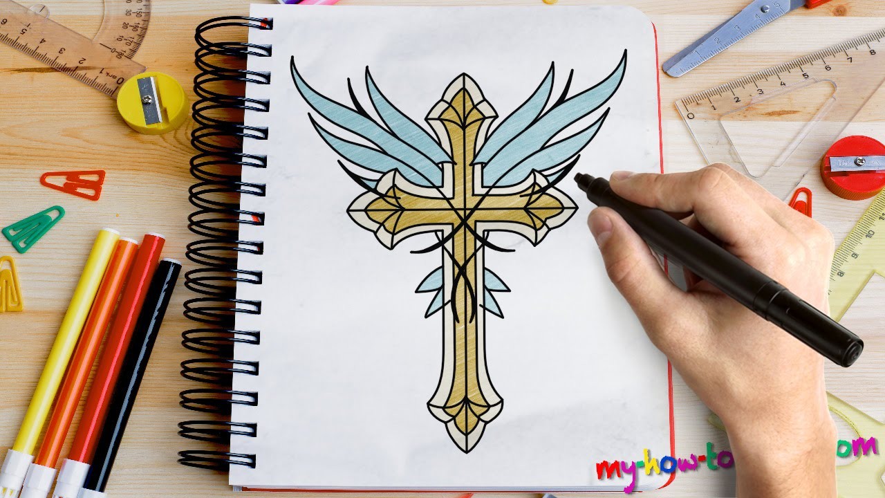 how to draw a cross with angel wings easy step by step drawing