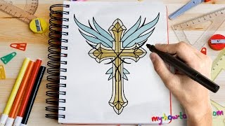 How to draw a Cross with Angel Wings - Easy step-by-step drawing lessons for kids