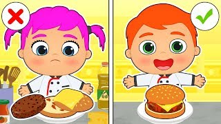 BABY ALEX AND LILY 🍔 Learn How to Make Burgers | Educational Cartoons