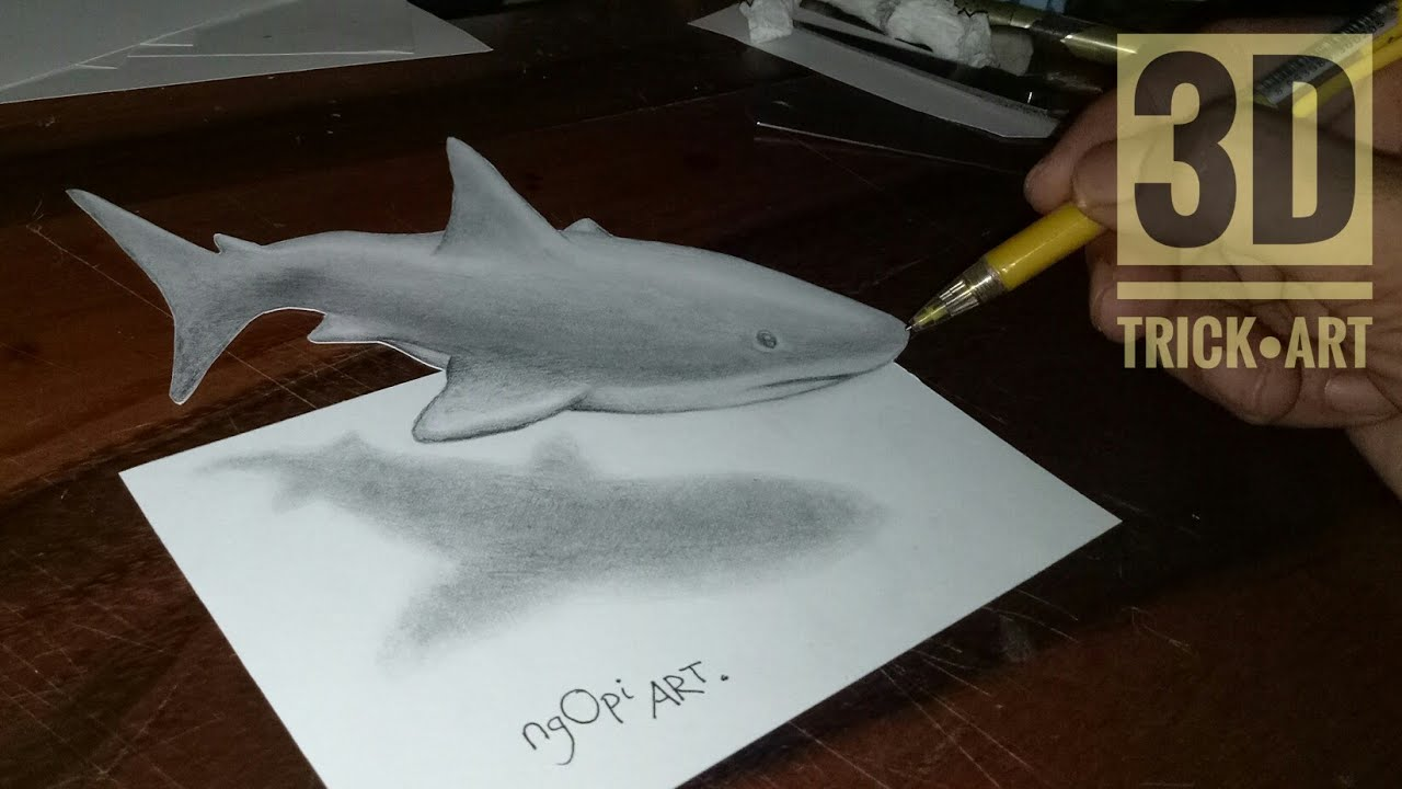 How To Draw A 3 Dimensional Illusion Shark Drawing A 3D Shark Looks Floating